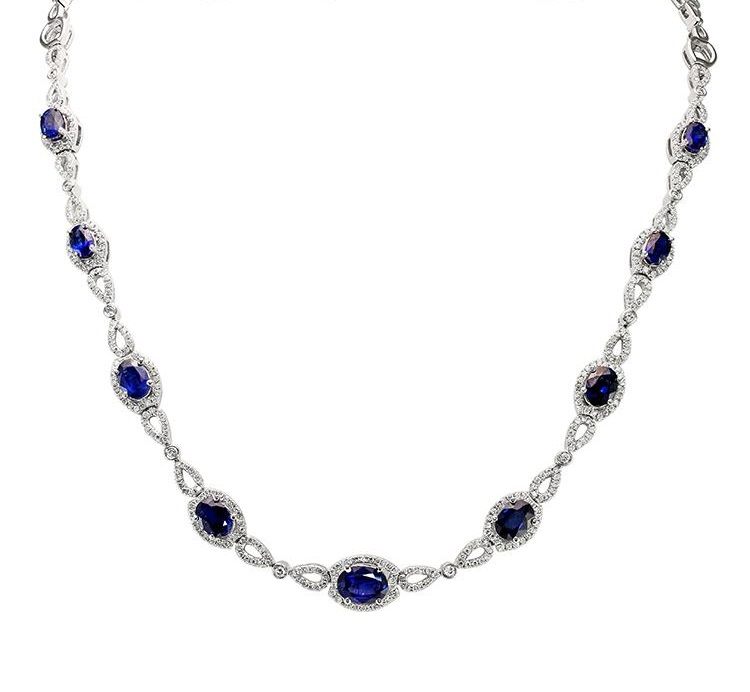 View 18K White Gold<BR> SAPPHIRE Necklace