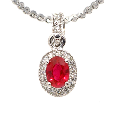 View 14K White Gold<BR> RUBY and Diamond Pendant