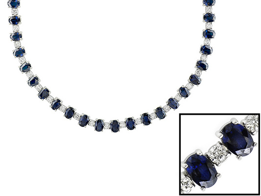 View  Gold<BR> SAPPHIRE and Diamond Necklace